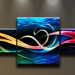 Matthew's Art Gallery - Metal Wall Art Abstract Modern 3 panels Sculpture Ocean Colors - Name: Ocean Colors