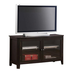 """Monarch Specialties - Monarch Specialties 48x18 TV Stand in Cappuccino, Dark Wood - This stylish 48"""" long spacious TV console table is perfect for your entertainment room. Two classy glass doors in the center enclose two generously sized adjustable shelves that are ideal for placing electronic components. Its smooth dark cappuccino cherry veneer finish will add a warm ambiance to any d?cor. The intricate almond shaped carvings along the edges and symmetrically angled corners offer a finessed look to this simple yet trendy piece. What's included: Media Unit (1)."""