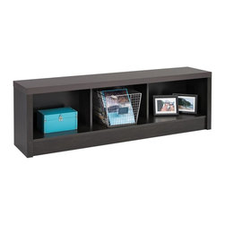 Prepac - Storage Bench - Finished in durable Washed Black laminate. Features 3 storage cubbies. Constructed from CARB-compliant composite wood. 5-year manufacturer's limited parts warranty. Ships Ready to Assemble, includes an instruction booklet for easy assembly. Proudly manufactured in Canada. 61.5 in. W x 11.75 in. D x 18 in. H The District bedroom collection is inspired by the simplicity of urban design; the District Storage Bench features a bold thick top and functional storage. Its Washed Black laminate fuses together classic black with warm brown undertones to create a high-end look. This bench size works well in narrow hallways, entryways and bedrooms.