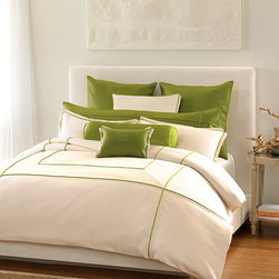 Bianca Bedding Collection - There is a refreshing vibrancy about the Bianca Bedding Collection that calls to mind a languid summer's day spent among orchard boughs heavy with apples and green with the promise of shining days to come. Against a soft vanilla backdrop, vivid colors of grass, limeade, and apple green suggest a casual calm and relaxed refinement well-suited to an eclectic master suite, a summerhouse, or guest cottage.