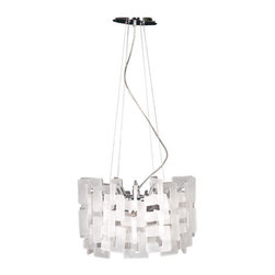 Eurofase - Numero 14551-017 - Pendant Lamp | Eurofase - Eurofase Lighting Numero 14551-017�Pendant Lamp features�chrome with frost white shade.An infinite complexity of geometrical shapes, logically audacious, yet perfect. Manufacturer: Eurofase LightingSize:�20 in. diameter x 14 in. height x 72 in. chain/cord lengthLight Source: 8�x 35 watt 120V G9 - not includedLocation:�DryCertifications: ETL