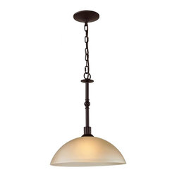 Joshua Marshal - One Light Oil Rubbed Bronze Light Amber Glass Down Pendant - One Light Oil Rubbed Bronze Light Amber Glass Down Pendant