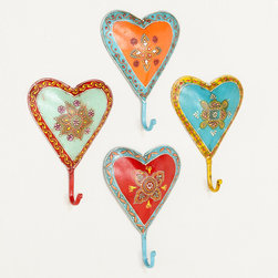 Painted Heart Hooks, Set of 4 - Group a few of these hooks together for a statement, or hang them around the house for robes, coats or bags.