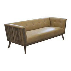 Reclamation Company - Manhatten Sofa, Oak, Oak, Natural (No Finish) - The Manhatten collection features a rustic exterior with a modern Australian leather upholstrey.  Because this is a unique handmade piece, please allow a 4 to 6 week lead time. Note: Please use the swatch image for an indication of the wood and finish options.