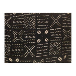 """Used Authentic African Mud Cloth - Created by the Bamana peoples of Mali, West Africa, this traditional African mud cloth - or """"Bogolanfini"""" - was hand spun, handwoven and hand painted, meaning no two are alike. Featuring a black background with off-white details, the cloth approximately measures 41-44""""W x 63-67""""L. The edges are raw, and there are slight imperfections as to be expected with unique, bespoke items."""
