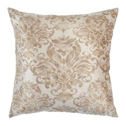 "Z Gallerie - Elenora Pillow 24"" - Elegantly define your piece of furniture by simply adding our stunning ivory Elenora Pillow to create a luxurious look. The damask floral motif in subdued beige is juxtaposed against an ivory ground color creating a soft palette with an antiqued appearance.  The pillow measures a generous 24 inches square and is filled with a sumptuous feather blend insert."