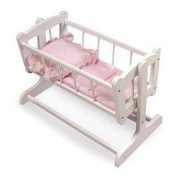 Badger Basket Pink Gingham Princess Heirloom Doll Cradle - The Badger Basket Pink Gingham Princess Heirloom Doll Cradle is the perfect place for little mommy to rock her favorite baby doll to sleep. Just like the real thing this charming cradle has a vintage design and is made with wood and wood composites with a smooth white finish. Your child will love the cute pink mattress pad blanket and pillow. Perfect for dolls up to 20-inches and children over 3 years of age. The non-toxic finish is easy to clean and the crib requires some adult assembly. Not for use with real infants or pets. Badger Basket CompanyFor over 65 years Badger Basket Company has been a premier manufacturer of baskets bassinets bassinet bedding changing tables doll furniture hampers toy boxes and more for infants babies and children. Badger Basket Company creates beautiful and comfortable products that are continually updated and refreshed bringing you exciting new styles and fashions that complement the nostalgic and traditional products in the Badger Basket line.