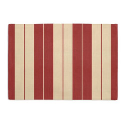 Red Racing Stripe Custom Placemat Set - Is your table looking sad and lonely? Give it a boost with at set of Simple Placemats. Customizable in hundreds of fabrics, you're sure to find the perfect set for daily dining or that fancy shindig. We love it in this barn red & tan woven racing stripe. a classic alternative to the traditional awning stripe that can work in any decor.