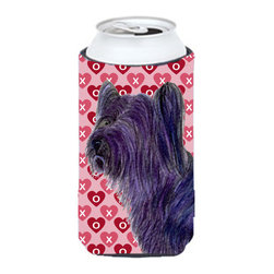 Caroline's Treasures - Skye Terrier Hearts Love and Valentine's Day Portrait Tall Boy Koozie Hugger - Skye Terrier Hearts Love and Valentine's Day Portrait Tall Boy Koozie Hugger Fits 22 oz. to 24 oz. cans or pint bottles. Great collapsible koozie for Energy Drinks or large Iced Tea beverages. Great to keep track of your beverage and add a bit of flair to a gathering. Match with one of the insulated coolers or coasters for a nice gift pack. Wash the hugger in your dishwasher or clothes washer. Design will not come off.