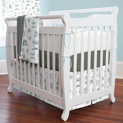 """Mist and Gray Owls Mini Crib Bedding - Adorable owls perched high upon their branches keep watch over your little one. Smiles and giggles are sure to fill the room when these little fellas show up. Featured in soft tones of mist blue and gray, this collection is sure to be the hit of the nursery. Perfect for smaller nurseries or for staying at Grandma's, portable mini-cribs are a great space-saving alternative to standard sized cribs. Our mini-crib bedding is designed to fit portable cribs using mattresses measuring approximately 24"""" x 38""""."""