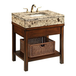 """Chans Furniture - 29""""  Brown Marble Top Cottage Style Darren Bathroom Sink Vanity #Q404Bn - Dimensions: 29.25 x 22 x 35.25"""" H  approx."""