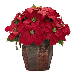 Poinsettia with Decorative Vase Silk Arrangement - We love our poinsettias here at nearly natural, and we especially love this offering, because it's the culmination of what we do - not just offer the highest quality faux flowers and plants, but where possible, adorn them with complementary accessories. This lush, full poinsettia is great on its own, but put it in one of our most decorative vases (like we did here), and you have a real winner for your holiday table. Height= 18 in x Width= 18 in x Depth= 13 in
