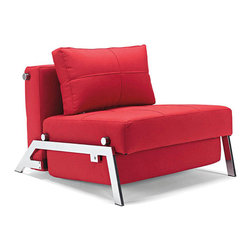 Innovation - Cubed Deluxe Chair - An elegant, convertible chair/twin size sofa bed in a design that allows it to be free standing in the middle of a room. The Deluxe styling adds a classic modernistic character to the chair/sofa.