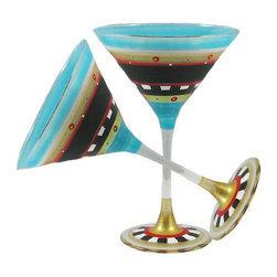 Golden Hill Studio - Mosaic Chalk Martini Glasses Set of 2 - Painting the town red tonight is so … passé. Try painting your happy hour in a full spectrum of color, with these spectacular martini glasses, each one hand-painted in colors of aqua, crimson, gold and black.