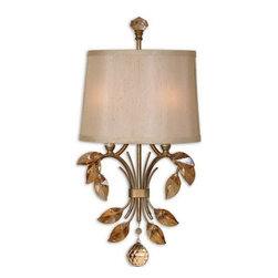 Uttermost - Uttermost 22487  Alenya 2 Light Gold Wall Sconce - Burnished gold metal with golden teak crystal leaves and a silken champagne fabric shade with natural slubbing.