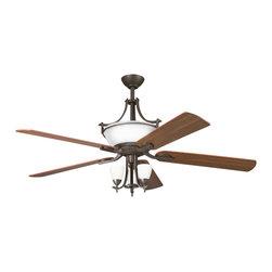 """Kichler Lighting 300011OZW Olympia Olde Bronze 60"""" Ceiling Fan - 6 Bulbs, Bulb Type: 15 Watt Candelabra; Weight: 30.80lbs"""