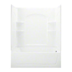 Sterling - Sterling Ensemble 76220110 60W x 75.25H in. Curve Whirlpool Bathtub Shower Combo - Shop for Jetted/Whirlpool from Hayneedle.com! The versatility of the smooth and contemporary Sterling Ensemble 76220110 60W x 75.25H in. Curve Whirlpool Bathtub Shower Combo will astound you! Just looking for a quick rinse? Three walls are in place with integrated shelving and a back wall with decorative curves for a modern appearance. Care for a long relaxing soak? There's a deep tub with comfortable backrest for that. Do you have aches and pains or perhaps tension lingering from a hard day at the office? Turn on the 8 whirlpool jets! Four back jets allow for a constant flow while two standard jets on the side and two at the feet adjust for that perfect level of massaging bubble bliss. This entire unit is compression-molded from durable and Vikrell material a Sterling exclusive that offers dependable performance. You may even customize this whirlpool bathtub and shower combo with your own choice of finish! Kohler almond Kohler biscuit and pure white are all available with a coating of high-gloss that creates a smooth shiny surface which looks impressive and is very easy to clean. This CSA-certified bathtub and shower combo measures 60W x 32D x 75.25H inches with an 18-inch apron and modular design that moves easily around corners and through doorways. Pre-installed whirlpool pump is ready to connect to water and delivers 1.25 HP. Available with right or left hand drain hole.Product Specifications:Overall Height: 75.25 inchesOverall Width: 60 inchesOverall Depth: 32 inchesHeight (Back Panel): 75.25 inchesWidth (Back Panel): 60 inchesThickness (Back Panel): 1 inchHeight (Side Panel): 75.25 inchesWidth (Side Panel): 32 inchesThickness (Side Panel): 1 inchBase Shape: Oval in rectangleInstallation Type: AlcoveNumber of Thresholds 1Drain Placement: Left or rightAbout SterlingEstablished in 1907 and quickly recognized as a leading manufacturer of faucets and brassware Sterling ha