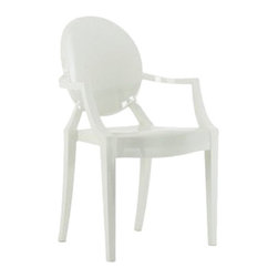 Kartell - Louis Ghost Chair - Louis Ghost Chair is available in a Transparent Sunset Orange, Transparent Straw Yellow, Transparent Crystal Green, Transparent Ice Blue, Transparent Crystal Clear, Opaque Glossy Black, Opaque Glossy White or Transparent Smoke Grey finish. The Louis Ghost Armchair by Kartell combines baroque Louis XV style with the latest manufacturing technologies. The Louis Armchair is a comfortable armchair in transparent and colored polycarbonate. The Louis Ghost is stable and durable, scratch and weather resistant. 21 inch width x 37 inch height. 19 inch seat height and a 27 inch arm height.