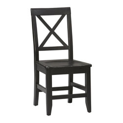 Linon Home Decor - Linon Home Decor Anna Collection Dining Chair X-U-DK-10-421C00168 - Whether your d&#233:cor is traditional or modern the stunning Antique Black finish with red rub through on the Anna Dining Chair will blend seamlessly into your dining area.   The dining chair features a unique single X back and a contoured seat for extra comfort.  Chic, clean and contemporary - this chair is certain to enhance your dining area with its casual elegance.
