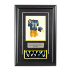 """Heritage Sports Art - Original art of the NFL 1977 San Diego Chargers uniform - This beautifully framed piece features an original piece of watercolor artwork glass-framed in an attractive two inch wide black resin frame with a double mat. The outer dimensions of the framed piece are approximately 17"""" wide x 24.5"""" high, although the exact size will vary according to the size of the original piece of art. At the core of the framed piece is the actual piece of original artwork as painted by the artist on textured 100% rag, water-marked watercolor paper. In many cases the original artwork has handwritten notes in pencil from the artist. Simply put, this is beautiful, one-of-a-kind artwork. The outer mat is a rich textured black acid-free mat with a decorative inset white v-groove, while the inner mat is a complimentary colored acid-free mat reflecting one of the team's primary colors. The image of this framed piece shows the mat color that we use (Yellow). Beneath the artwork is a silver plate with black text describing the original artwork. The text for this piece will read: This original, one-of-a-kind watercolor painting of the 1977 San Diego Chargers uniform is the original artwork that was used in the creation of this San Diego Chargers uniform evolution print and tens of thousands of other San Diego Chargers products that have been sold across North America. This original piece of art was painted by artist Nola McConnan for Maple Leaf Productions Ltd. Beneath the silver plate is a 3"""" x 9"""" reproduction of a well known, best-selling print that celebrates the history of the team. The print beautifully illustrates the chronological evolution of the team's uniform and shows you how the original art was used in the creation of this print. If you look closely, you will see that the print features the actual artwork being offered for sale. The piece is framed with an extremely high quality framing glass. We have used this glass style for many years with excellent results"""