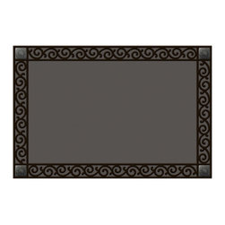 Magnet Works, Ltd. - Rubber Tray Scroll Mat Mate without Hanger - Our Mat Mates printed doormats really come to life when used as an insert for this innovative recycled rubber tray. Simulated scrollwork frames each doormat and the Scroll cast metal corner accents give the finishing touch. Measures 36 in. x 24 in.