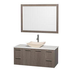 Wyndham - Amare 48in. Wall Vanity Set in Grey Oak w/ White Stone Top & Ivory Marble Sink - Modern clean lines and a truly elegant design aesthetic meet affordability in the Wyndham Collection Amare Vanity. Available with green glass or pure white man-made stone counters, and featuring soft close door hinges and drawer glides, you'll never hear a noisy door again! Meticulously finished with brushed Chrome hardware, the attention to detail on this elegant contemporary vanity is unrivalled.