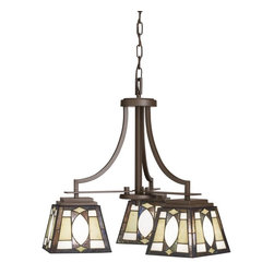 TIFFANY - TIFFANY Denman Tiffany Casual Chandelier X-12166 - Unique shapes and traditional lantern style come together in this contemporary Denman Tiffany casual chandelier. The elegant design of the shade draws stares and gets people talking. This fixture looks wonderful in your bathroom, kitchen, or dining room. The olde bronze finish is made to last and is sure to please.