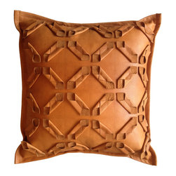 Leather Geometric Cut Pillow - hand made: hand cut, fabric manipulated
