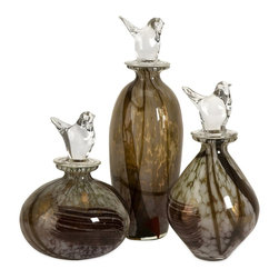 Brown Art Glass Bottles with Bird Stopper - Set of 3 - *Clear bird shapes top the lids of this set of art glass bottles in shades of brown.