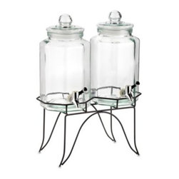 Home Essentials & Beyond - Home Essentials Del Sol Twin 1-Gallon Beverage Dispensers on Metal Rack - Conveniently serve and dispense two beverages on one rack. Metal wire rack offers a simplistic, yet functional design.