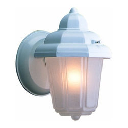 DHI-Corp - Maple Street Outdoor Downlight, 6-Inch by 8.75-Inch, White Die-Cast Aluminum - The Design House 507483 Maple Street Outdoor Downlight greets your guests at the door with a soft, inviting glow. Featuring a white die-cast aluminum finish with clear beveled glass, this light will decorate your facade with classical details. The traditional design and sleek finish will complement any architecture by illuminating a front porch or back deck. Measuring 6-inches by 8.75-inches, this lamp matches brick, stone, wood paneling or aluminum siding. This light uses a 60-watt medium base incandescent lamp and is rated for 120-volts. UL listed and UL approved for wet areas, this downlight stays bright in harsh weather conditions. The Design House 507483 Maple Street Outdoor Downlight comes with a 10-year limited warranty that protects against defects in materials and workmanship. Design House offers products in multiple home decor categories including lighting, ceiling fans, hardware and plumbing products. With years of hands-on experience, Design House understands every aspect of the home decor industry, and devotes itself to providing quality products across the home decor spectrum. Providing value to their customers, Design House uses industry leading merchandising solutions and innovative programs. Design House is committed to providing high quality products for your home improvement projects.