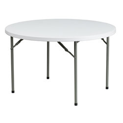 Flash Furniture - Flash Furniture 48'' Round Granite White Plastic Folding Table - This commercial grade table is useful in a multitude of environments from banquet halls, cafeterias, or in the home. This table can be used as a temporary seating solution or set-up in a permanent location for everyday use. Flash Furniture's 48'' Round Folding Table features a durable stain resistant blow molded top and sturdy frame. The blow molded top requires low maintenance and cleans easily. The table's legs lock in place in a SNAP with the leg locking system for easy set-ups.