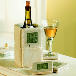 Initial Wine Chiller & Coasters - Keep your wine perfectly chilled all through dinner with a chiller personalized with your initial.  Coasters provide a stable and safe place for your wine glass ensuring the surface underneath stays ring free.  Such an elegant way to serve your favorite white wine.