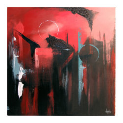 'Urban Exhaust' Original Painting - Nothing says passion like deep red and fearless strokes of black, and this original painting by Dan Nash Gottfried has both in abundance. ideal for any of your rooms that need a bold statement, this piece has big drama and will hold its own with the stateliest of furniture. You'll be inspired by its daring spirit and revel in the sense of theater it brings to your space.