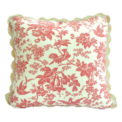 "Interior Nature - Floral Toile Pillows, Coral Pink English Cottage Pillows - A luscious pink coral rose color. Vintage floral toile linen with crochet trim. Like a your favorite lipstick. A vibrant Versailles 100% cotton velvet (by Kravet) added to the back. 100% cotton crochet trimming. Feather/down inserts. 18"" x 18""."