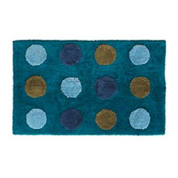 Dotted Peacock Blue Bath Mat - This fun bathmat will add some peacock pizazz to your bathroom floor, as well as sopping up those drips from your wet feet.
