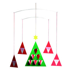 Flensted Mobiles - Prismas Mobile - Bring on the merry! Smiling Santa-hatted figures dance around a heart-decked tress in this whimsical holiday mobile.