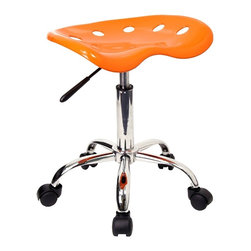 "Flash Furniture - Chrome Stool w Height Adjustment and Molded T - You don't have to be a Clemson fan to appreciate the vibrant orange color and clever design of this sensational tractor seat stool.  Completely practical, the ingenious gas lift means you can adjust the seat height a full five inches in an instant with a simple touch of the lever.  With a stable five-leg star base and dual casters, it glides easily over any floor surface including carpet.  Select from an impressive array of decorator style finishes for this great stool. Vibrant Orange and Chrome stool. Extremely unique and comfortable molded ""Tractor"" seat. 5.5 in. Height range adjustment. Pneumatic gas lift. High density polymer construction on tractor seat. Chrome base. Dual wheel carpet casters. Seat: 17 in. W x 15 in. D. Seat Height: 20 1/4 in. - 25 3/4 in. H. Overall: 17 in. W x 15 in. D x 20 1/4 in. - 25 3/4 in. H (18 lbs.)"