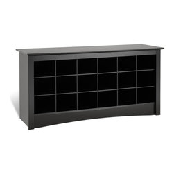 Prepac Shoe Storage Cubbie Bench in Black - This Shoe Storage Cubbie Bench in Black Finish by Prepac Furniture is both stylish and functional, and is a great addition to any front entrance way. Each of the 18 cubbies measure, which make them large enough to hold men's size 13 shoes.