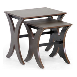 Wholesale Interiors - Xavier 2-Pc Modern Nesting Table Set - Includes small and large table. Transitional style. Black powder-coated steel horizontal support beams. Non-marking feet. To clean and wipe with damp cloth. Made from MDF with PVC veneer. Dark brown finish. Assembly required. Small: 26.5 in. W x 20.2 in. D x 6.5 in. H. Large: 45.2 in. W x 15.7 in. D x 17.7 in. HOur Xavier nesting table set includes two end tables that are so versatile and useful you will come to wonder how you ever did without! A black powder-coated steel bar runs between ach table legs to provide additional stabilization.
