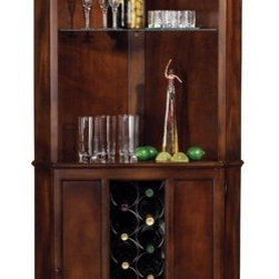 "Howard Miller - Piedmont Wine and Spirits 13 Bottle Wine Cabinet - This traditionally styled cabinet combines plentiful storage with a convenient space-saving corner design. The lower cabinet features a metal wine rack with a capacity of 13 bottles, and two fixed shelves, which offer storage for spirits, mixers, and bartender's guides. Features: -Touch-Lite adjustable light switch offers four levels of lighting: low, medium, high, and off.-Adjustable levelers under each corner provide stability on uneven and carpeted floors.-Locking door for added security.-Glass shelves can be adjusted to any level within your cabinet.-Pad-lock cushioned metal shelf clips increase stability and safety.-Finished in distressed rustic cherry on select hardwoods and veneers.-Wine and Spirits Cabinet collection.-Product Type: Wine cabinet.-Collection: Wine and Spirits Cabinet.-Finish: Rustic cherry.-Hardware Finish: Antique brass.-Distressed: Yes.-Powder Coated Finish: No.-Material: Select hardwoods and veneers.-Wine Bottle Capacity: 13.-Weather Resistant or Weatherproof: No.-Number of Cabinets: 1.-Number of Doors: 1.-Lockable: Yes.-Handle Design: Knob.-Shelves Included: Yes -Number of Exterior Shelves: 2.-Number of Interior Shelves: 2.-Adjustable Shelves: No..-Lighted: Yes -Number of Lights: 1.-Adjustable Light: No.-Light Control: Touch light.-Bulb Type: 40R14 Canister light.-Bulb Included: Yes..-Plug-In: Yes.-Removable Serving Tray Included: No.-Ice Bucket Included: No.-Wine Glass Storage Included: Yes -Wine Glass Capacity: 9..-Glasses Included: No.-Adjustable Levelers: Yes.-Stackable: No.-Foldable: No.-Removable Bottle Racks: No.-Commercial Grade Welding: Yes.-Outdoor Use: No.-Commercial Use: No.-Recycled Content: No.-Product Care: No.-Country of Manufacture: United States.-Gloss Finish: No.-Solid Wood Construction: No.-Door Attachment Detail: Hinges.-Refrigerated Cabinet: No.-Mirrored Back: No.Specifications: -UL Listed: Yes.Dimensions: -Overall Height - Top to Bottom: 76"".-Overall Width - Side to Side: 32.5"".-Overall Depth - Front to Back: 19"".-Shelves: -Shelf Width - Side to Side: 27.439"".-Shelf Depth - Front to Back: 15.188""..-Hanging Chain Length: No.-Overall Product Weight: 80 lbs.Assembly: -Assembly Required: No.-Additional Parts Required: No.Warranty: -Product Warranty: 1 year from date of purchase."