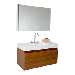 Fresca - Mezzo Teak Vanity w/ Medicine Cabinet Sesia Chrome Faucet - This vanity is striking in its simplicity. It features a beautiful widespread chrome faucet. Don't forget to check under the hood with the innovative storage system that includes a nested drawer. It also features a medicine cabinet that can be either wall mounted or recessed into a wall. The Mezzo is a larger version of the Nano Vanity.