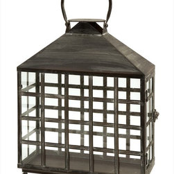 "Imax Worldwide Home - Drake Wide Candle Lantern - Oriental style wide candle lantern with straight lines creating small window panes topped with a handle. Holds two pillar candles.; Country of Origin: China; Weight: 5.61 lbs; Dimensions: 12.75""h x 5.25""w x 15.75""d"