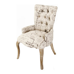 Kathy Kuo Home - Iris Tufted Vanity Dining Chair with Literary French Script - An edgy classic, Iris is smart and attractive in equal measure with deep tufting, distinctive literary script pattern and a neutral palette.  Modern yet in touch with tradition, this chair is the seating equivalent of a attractive librarian, which we love!  Perfect for modern eclectic, French rustic and nouveau baroque spaces.
