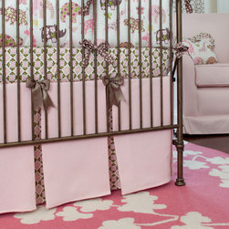 Pink Animal Parade Crib Skirt - Light Pink Matelesse crib skirt with insets in Ana's Floral. Finished with Chocolate Brown Satin Ribbon bows.