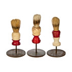 Salvatecture Studio - Vintage Shaving Brushes on Stands #8, Set of 3 - Your bathroom can use these vintage artifacts to give it some unique character. Each shaving brush in this set shows the weathered effects of use and is proudly mounted on a reclaimed iron stand. This threesome is bound to cause a lather wherever they are displayed.