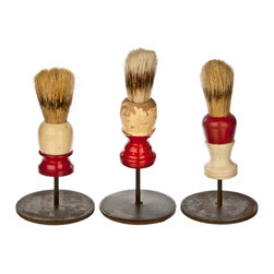 Salvatecture Studio - Set of Three Vintage Shaving Brushes on Stands #8 - Your bathroom can use these vintage artifacts to give it some unique character. Each shaving brush in this set shows the weathered effects of use and is proudly mounted on a reclaimed iron stand. This threesome is bound to cause a lather wherever they are displayed.