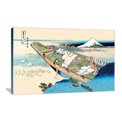 """Artsy Canvas - House Boat 36"""" X 24"""" Gallery Wrapped Canvas Wall Art - House Boat - Katsushika Hokusai (1760 beautifully represented on 36"""" x 24"""" high-quality, gallery wrapped canvas wall art"""