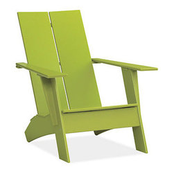 Emmet Lounge Chair, Green - This high-density plastic outdoor chair offers a new take on the classic Adirondack. I love that it's made of ecofriendly materials.