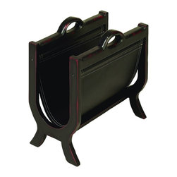 Benzara - Wood Leather Magazine Rack Classic U Shaped Home Office Decor - Traditional wood and leather magazine holder and paper rack with classic u shaped design home office decor